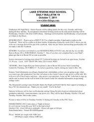 LAKE STEVENS HIGH SCHOOL DAILY BULLETIN 19 October 7 ...