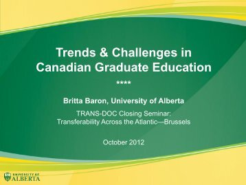 BARON - Graduate Education in Canada