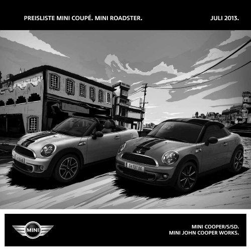 Preisliste MINI coupé. MINI Roadster. Juli 2013. - MINI.at