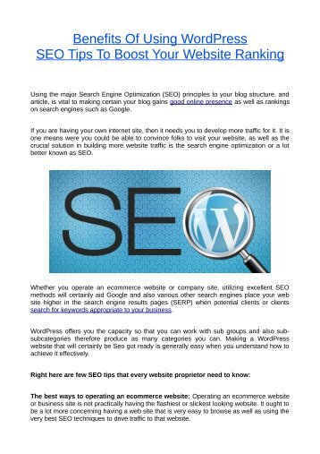 Benefits Of Using WordPress SEO Tips To Boost Your Website Ranking