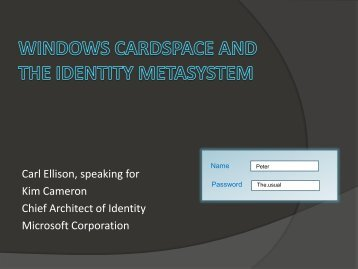 Windows CardSpace and the Identity Metasystem - Internet2 ...
