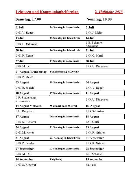 Lektoren- und Kommunionhelferplan 2. Halbjahr 2013