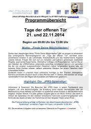 Programmübersicht Tage der offenen Tür 21. und 22.11.2014