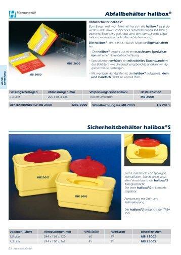 Abfallbehälter halibox® Sicherheitsbehälter halibox®S - Hammerlit