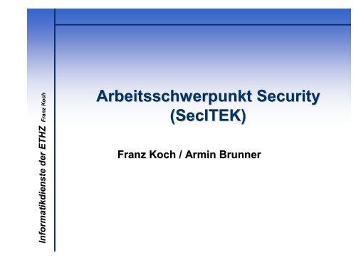 Arbeitsschwerpunkt Security - ITEK