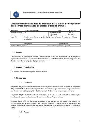 Circulaire relative à la date de production et à la date de congélation ...