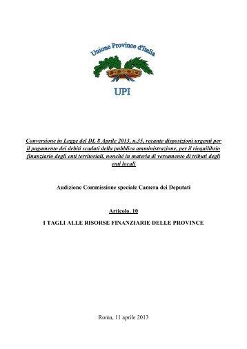 comunicato stampa upi unione delle province d italia