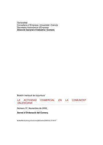 LA ACTIVIDAD COMERCIAL EN LA COMUNITAT VALENCIANA