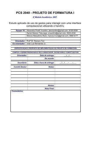 PCS 2040 - PROJETO DE FORMATURA I - PCS - USP