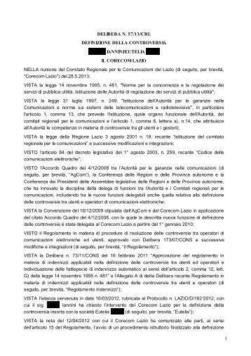 DELIBERA N. 57/13/CRL DEFINIZIONE DELLA ... - Corecom Lazio