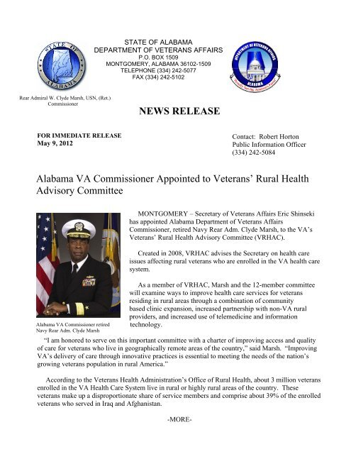 NEWS RELEASE Alabama VA Commissioner Appointed to Veterans
