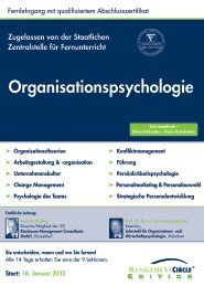 Fernlehrgang: Organisationspsychologie - Management Circle AG