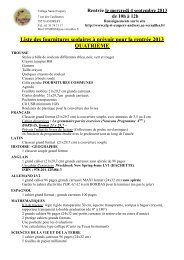 Liste des fournitures scolaires à prévoir pour la rentrée 2013 ...