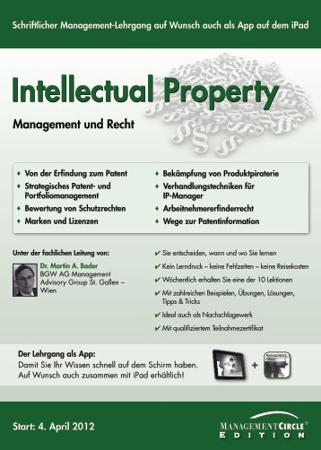 Schriftlicher Lehrgang: Intellectual Property - Management Circle AG