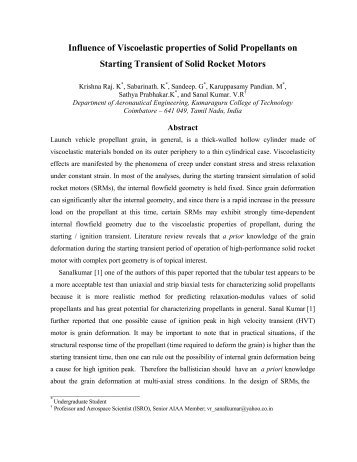 Influence of Viscoelastic properties of Solid Propellants on Starting ...