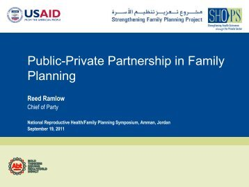 Public-Private Partnership in Family Planning - (SHOPS) project
