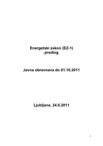Energetski zakon (EZ-1) - Ministrstvo za infrastrukturo in prostor