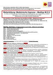 Medizinische Hypnose – MedHyp MEG - Institut  Systeme