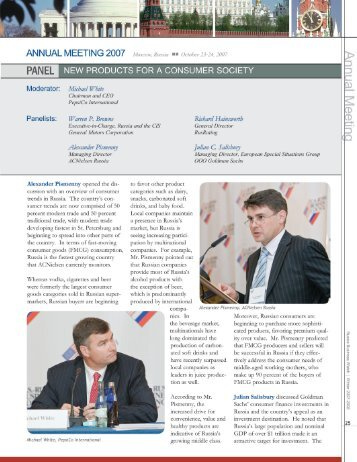 New Products for a Consumer Society - US-Russia Business Council