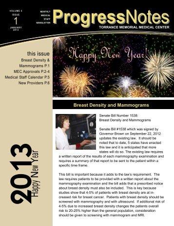 January 2013, Volume 5, Issue 1 - Torrance Memorial Medical Center