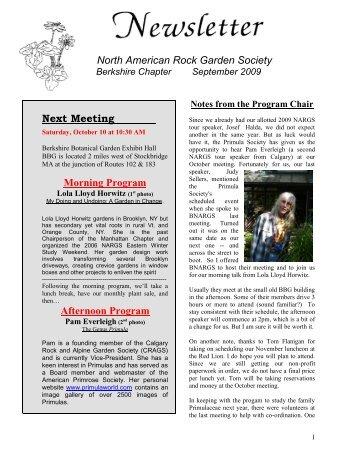 North American Rock Garden Society Next ... - Berkshire Chapter