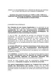 ARRETÉ DU GOUVERNEMENT DE LA RÉGION DE ... - BECI
