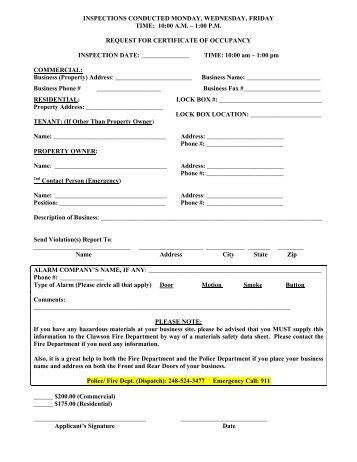 Certificate of Occupancy Applications - City of Clawson