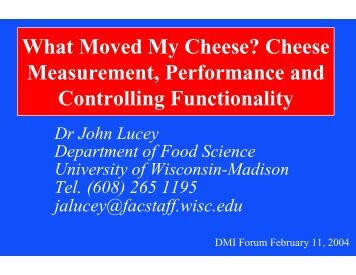 What Moved My Cheese? Cheese Measurement, Performance and ...