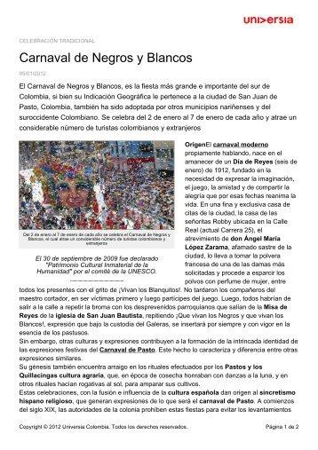 Carnaval de Negros y Blancos - Noticias - Universia