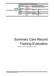 Summary Care Record Training Evaluation - NHS Connecting for ...