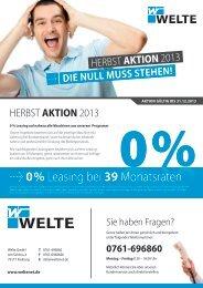 0% Leasing - Herbst Aktion 2013 - Flyer als PDF - Welte GmbH