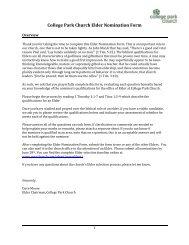 College Park Church Elder Nomination Form