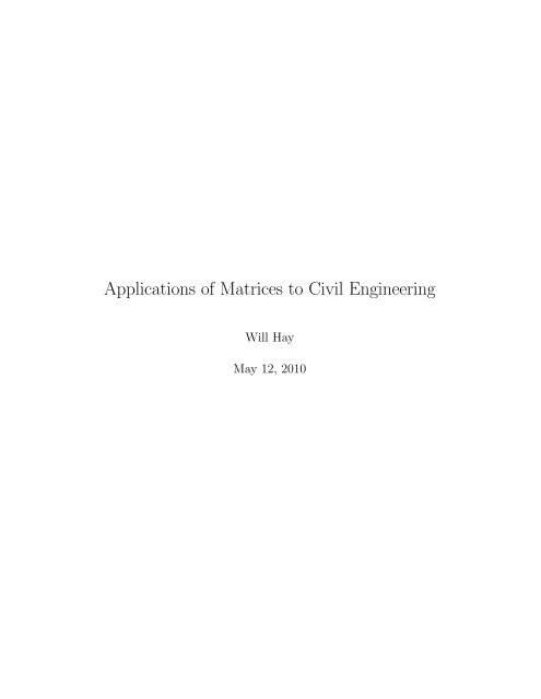 Applications of Matrices to Civil Engineering