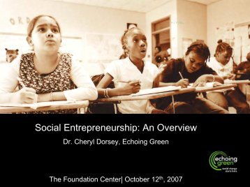 Social Entrepreneurship: An Overview - Foundation Center