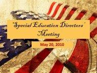 Special Education Directors' Meeting - ESC2 Special Education
