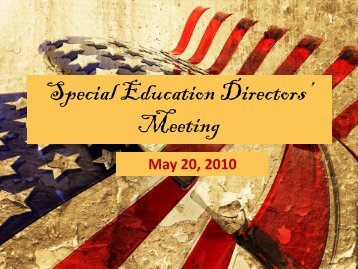 Special Education Directors' Meeting - ESC2 Special Education