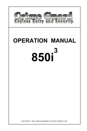 OPERATION MANUAL - car alarm