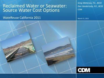 Reclaimed Water or Seawater: Source Water Cost Options