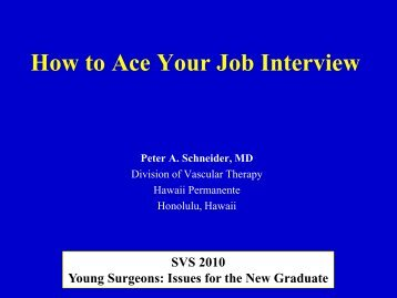 How to Ace Your Job Interview - VascularWeb