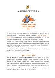 ESTATE IN GIOCO CON I BAMBINI 2011 - L'Eco di Bergamo
