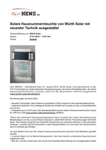 Solare Hausnummernleuchte von Würth Solar mit ... - Fair-news.de