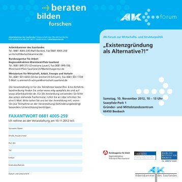 Flyer Existenzgründung als Alternative - Blog WFG Saarpfalz
