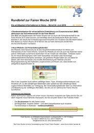 Rundbrief zur Fairen Woche 2010 - Faire Woche