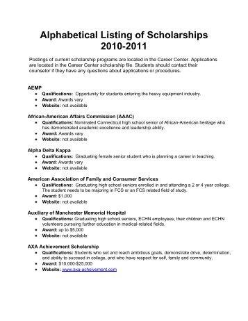 Alphabetical Listing Of Scholarships 2010 2011