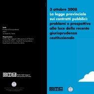 3 ottobre 2008 La legge provinciale sui contratti pubblici: problemi e ...