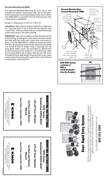 Knox 1650 Series Mounting Instructions - Knox Box
