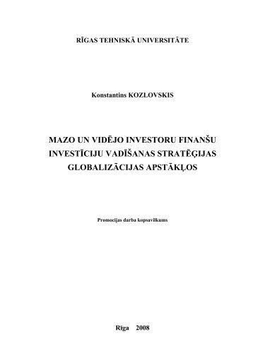 mazo un vidējo investoru finanšu investīciju vadīšanas ... - Aleph Files