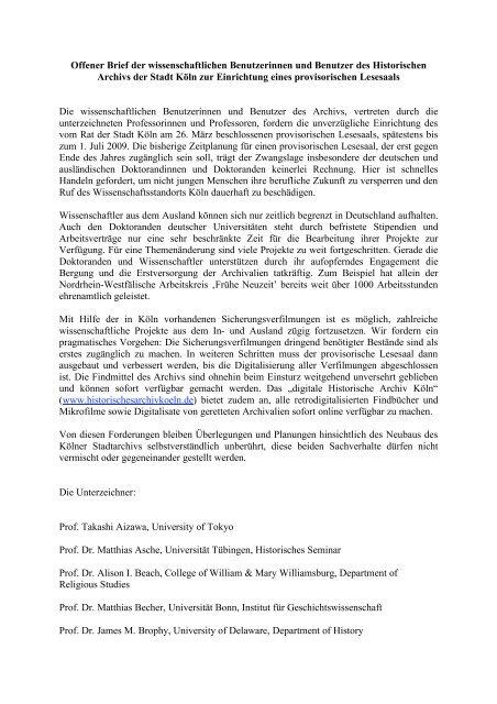 Offener Brief Hastk Provisorischer Lesesaal Das Digitale