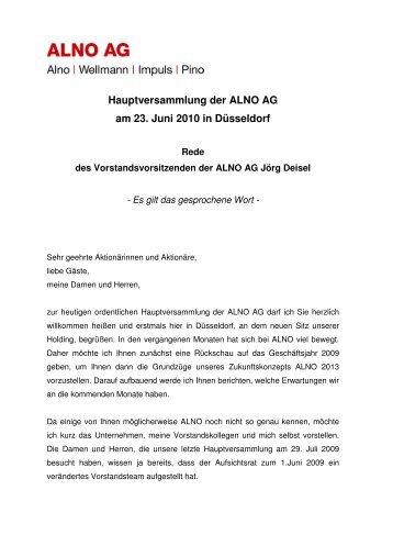 Rede Jörg Deisel zur ALNO Hauptversammlung 2010