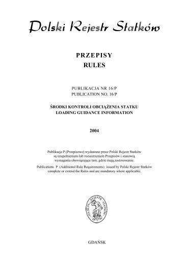 PU 16P - Środki kontroli obciążenia statku - PRS